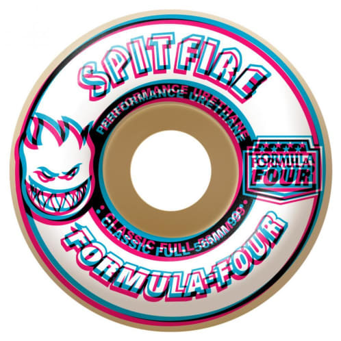 "Spitfire Formula Four ""Overlay"" Classic Full Skateboard Wheels Natural 99DU 56mm"