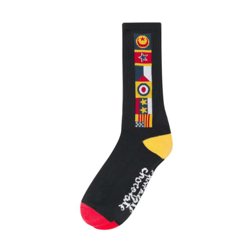 Lakai- Chocolate Skateboards Flags Crew Sock - Black