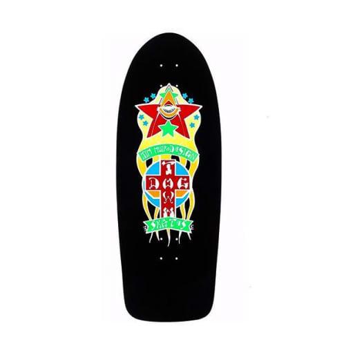 Dogtown Skateboards Triplane Re-Issue Skateboard Deck 11.00 - Black Yorkite/Neon Orange