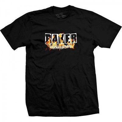 Baker Skateboards Fire Burning Logo T-Shirt - Black