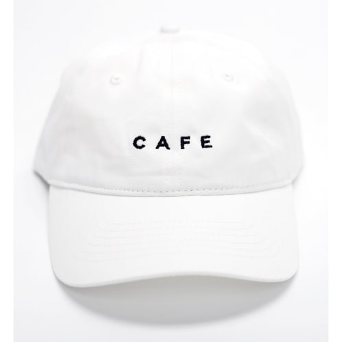 Skateboard Cafe Embroidered 6 Panel White