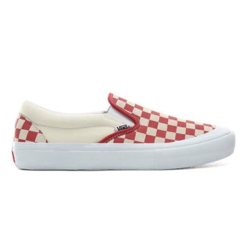 Vans Slip-On Pro Skateboarding Shoes - Checkerboard/Mineral/Red