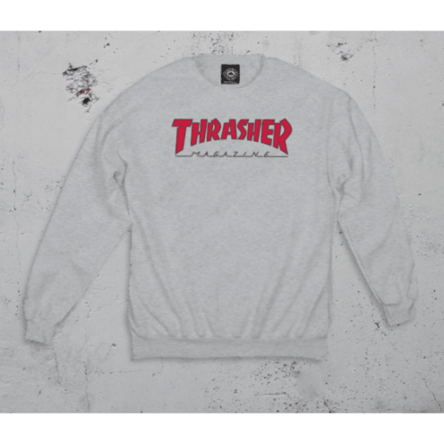 Thrasher - Outlined Crewneck Sweatshirt - Ash Grey