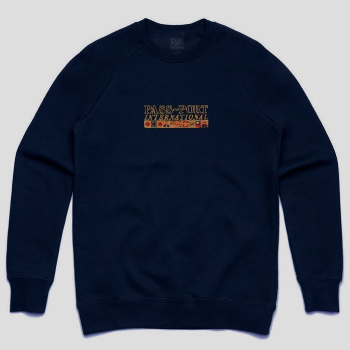 "PASS~PORT ""INTERNATIONAL EMBROIDERY"" SWEATER NAVY"