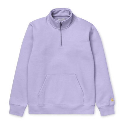 Carhartt Chase Neck Zip Sweat - Soft Lavender/Gold