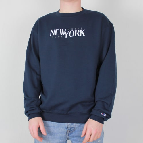 Hotel Blue Champion Stacks Crewneck Sweatshirt Navy