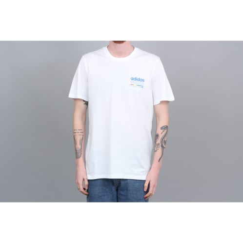 adidas Dodson T-Shirt White / Blue / Green / Real Coral