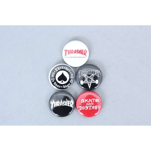 Thrasher Logo Button Badges 5 Pk
