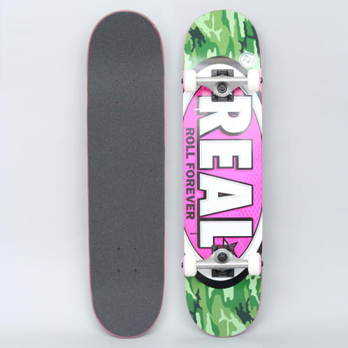Real 7.5 Awol Ovals Small Complete Skateboard Green / Pink