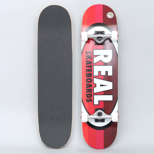 Real 7.75 Oval Stripes Medium Complete Skateboard Red