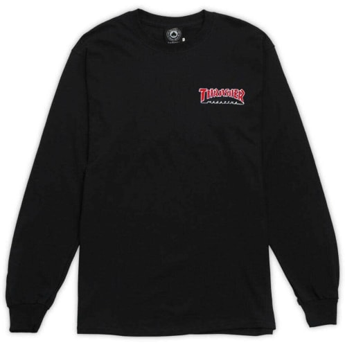 Thrasher Embroidered Outlined Longsleeve - Black