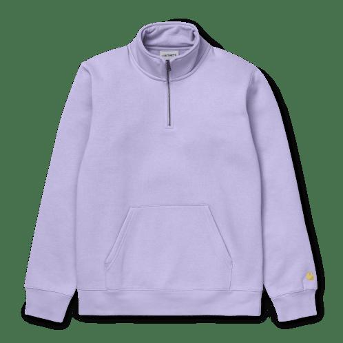 Carhartt Chase Neck Zip Sweat - Soft Lavender/Gold
