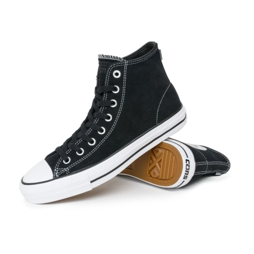 Converse Chuck Taylor All Star Pro High Suede Shoes - Black/Black/White