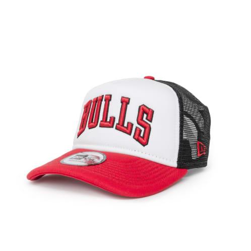 New Era Chicago Bulls Colour Block A Frame Trucker Cap - White/Red