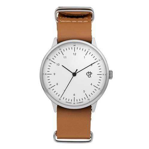 CHPO Harold Watch - White Dial/Brown Leather Strap