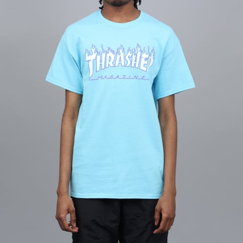 Thrasher Flame Logo T-Shirt Sky Blue