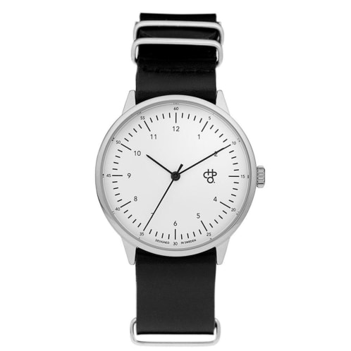 CHPO Harold Watch - White Dial/Black Leather Strap