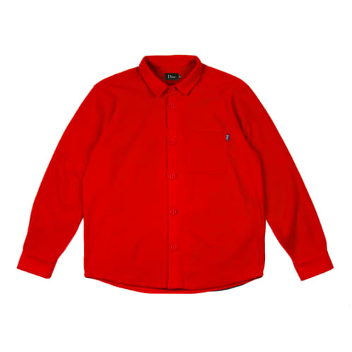 Dime MTL Fleece Button-Up Skateboard Shirt - Red