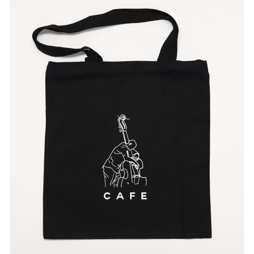 Skateboard Cafe Jazz Sketch Tote Bag Black