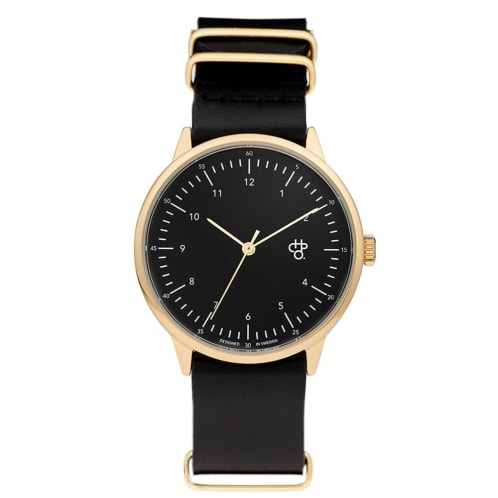 CHPO Harold Watch - Gold Metal/Black Dial/Black Leather Strap