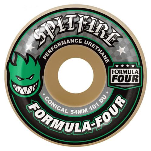 Spitfire Formula Four Skateboard Wheels - Conical (Green Print) 101D 52mm