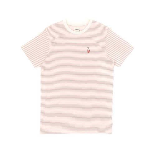 WEMOTO Shake Stripe T-Shirt - Off White/Pink