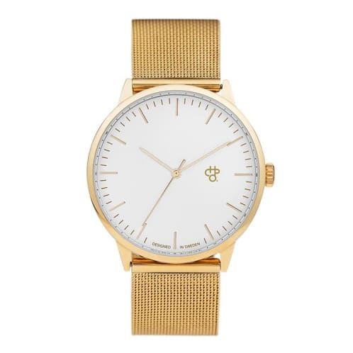 CHPO Nando Gold Watch - White/Metal Mesh Wristband