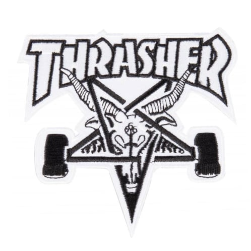 Thrasher Skate Goat Patch - White/Black