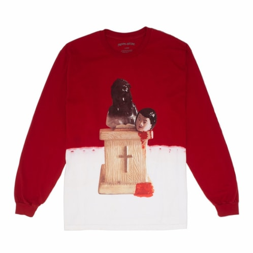 Fucking Awesome Prey Bleach Dip Dyed Long Sleeve T-Shirt - Scarlet Red