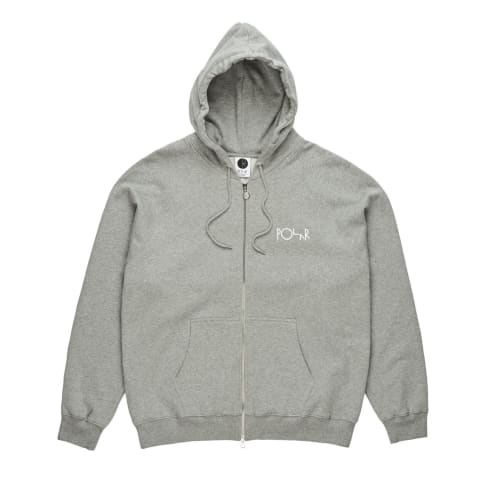 Polar Stroke Logo Zipped Hooded Sweatshirt - Heather Grey