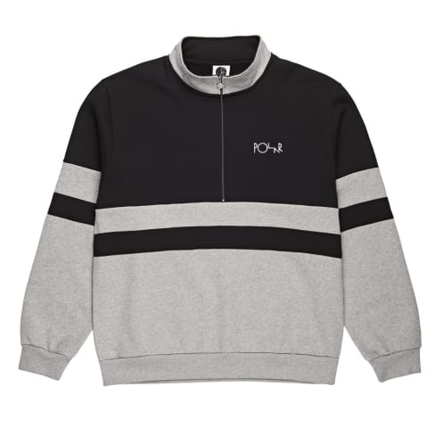 Polar Block Zip Sweatshirt - Black / Heather Grey