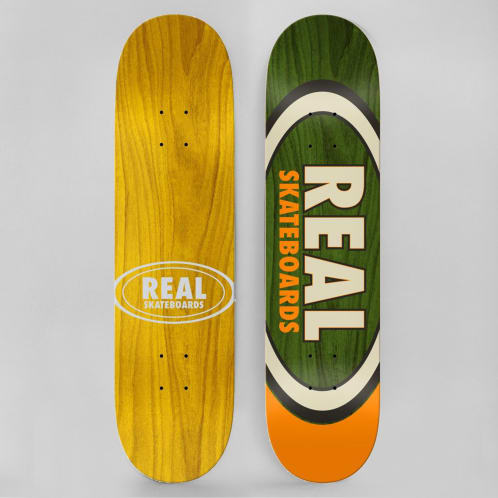 Real 8.5 Team Dual Oval Skateboard Deck Green