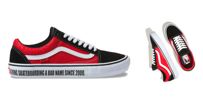 3. The Vans Old Skool Pro x Baker Skateboards collaboration shoe in red, black and white.