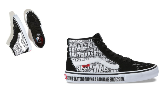 4. The Vans Sk8-Hi Pro x Baker Skateboards collaboration shoe in black and white.