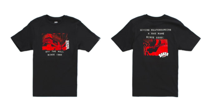 1. The Vans Off The Wall x Baker Skateboards collaboration t-shirt in black.
