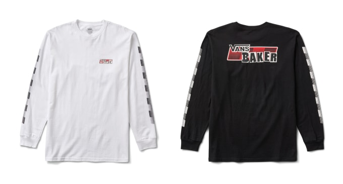 2. Vans skate shoes x Baker Skateboards collection. Long sleeve t shirts in white and black sit alongside Vans Slip-On Pro, Vans Old Skool Pro and Vans Era Pro to form the collection