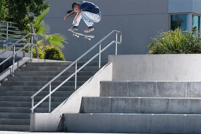 4. Miles Silvas in Primitive Skateboarding's Encore video. Frontside heelflip varial over the rail.