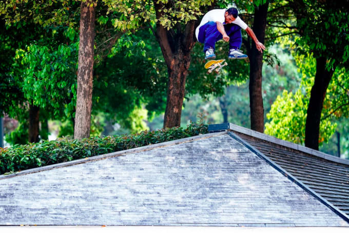 1. Tiago Lemos in Primitive Skateboarding's Encore video. Nollie heelflip into bank.