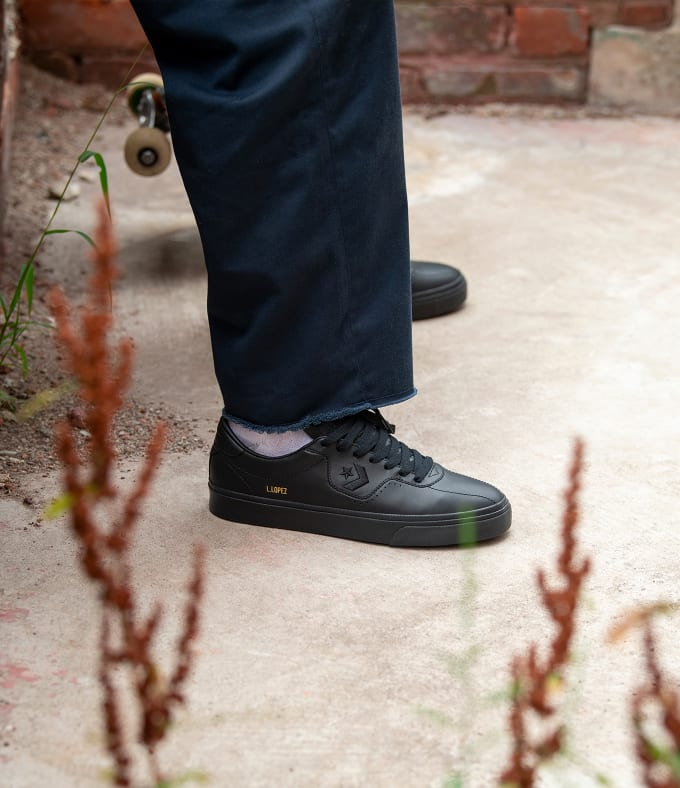 1. Converse Cons Louie Lopez in Black Leather. Converse Skateboarding shoes in a durable black leather.