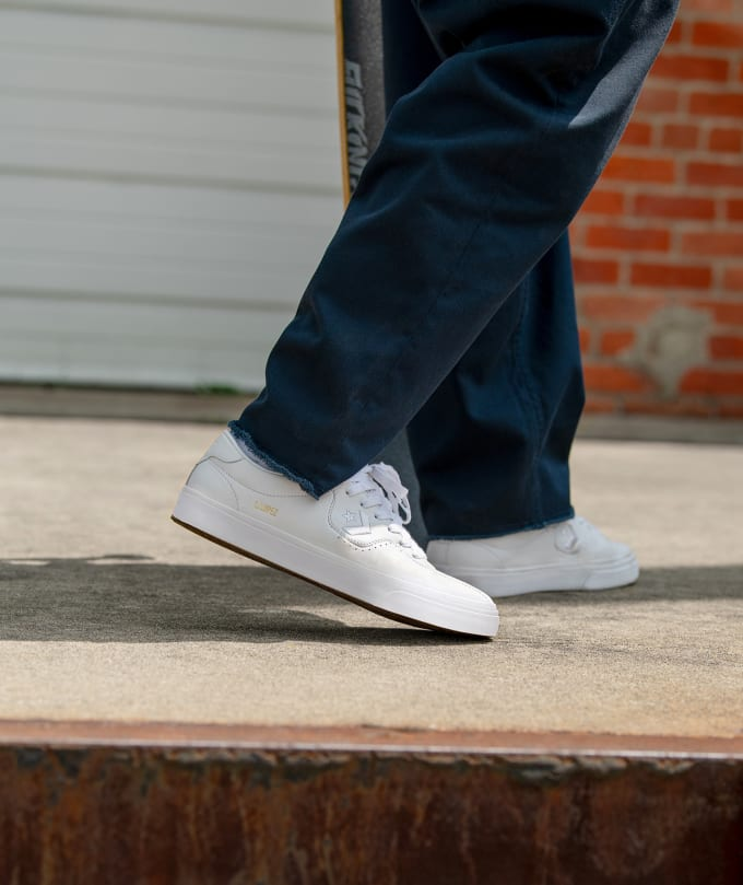 4. Converse Cons Louie Lopez in White Leather. Converse Skateboarding pro model signature shoe Louie Lopez in white leather.