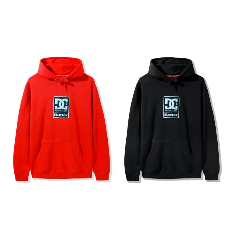 DC Shoes & Butter Goods hoodie in red and black