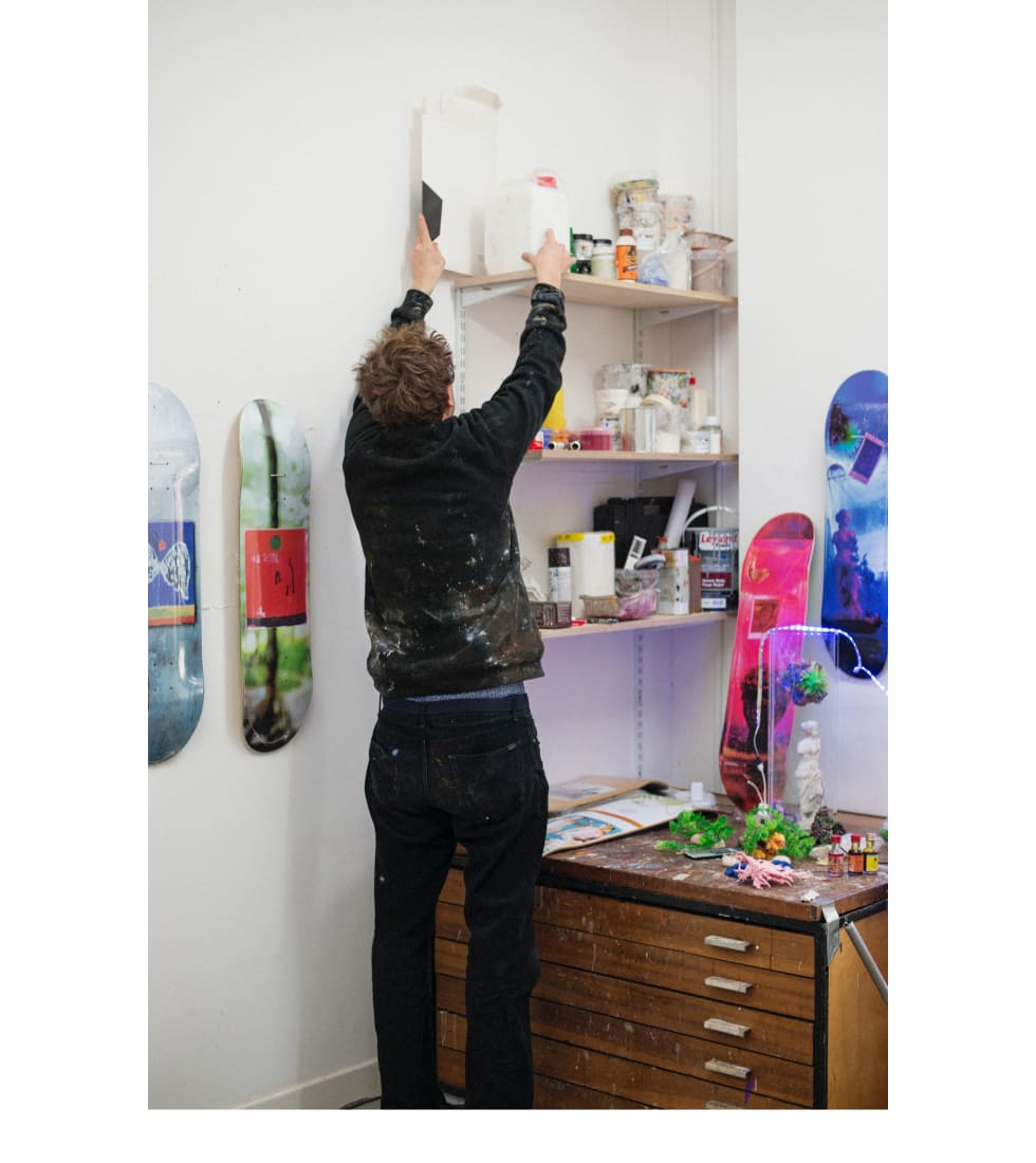Nick Jensen in his Hackney, London studio where most of the Isle Skateboards artwork is created.