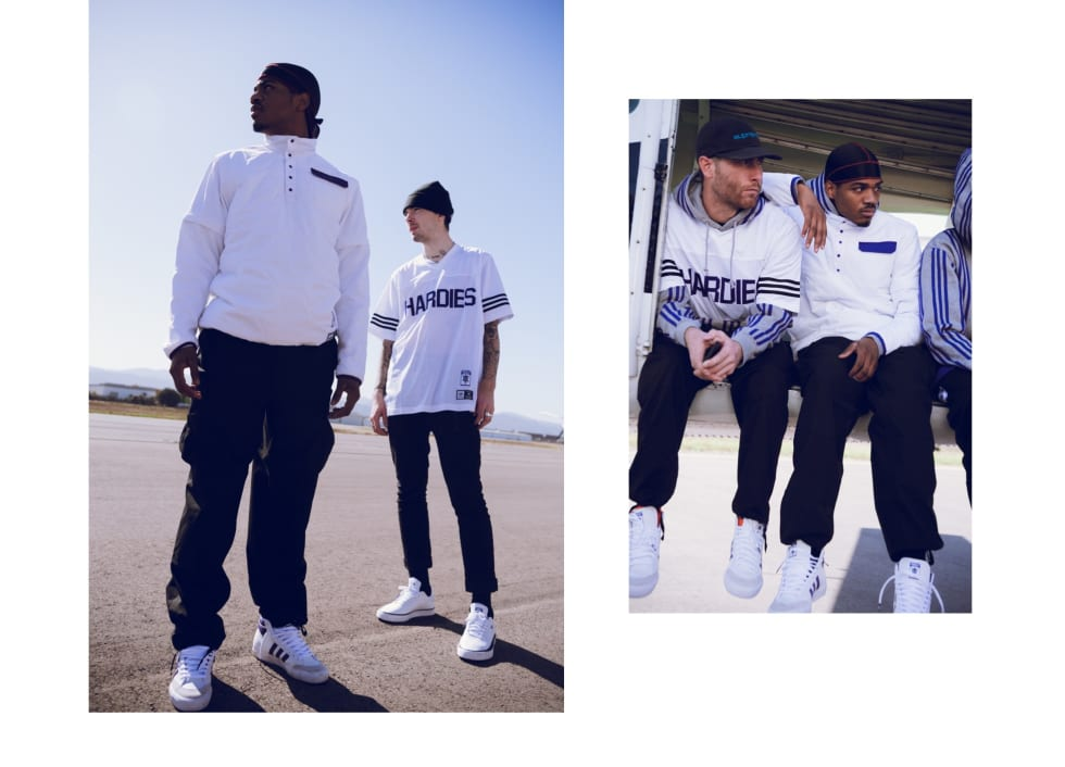 Theres a grey hoodie with Hardies branding and purple Adidas stripes, a jersey made of recycled polyester features a bold Hardies logo on the front.