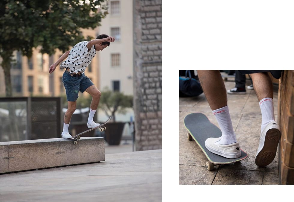 Pablo in the Converse Cons slip-on.