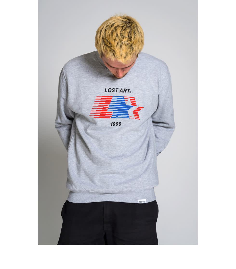 Lost Art L Star crewneck sweatshirt in sport grey