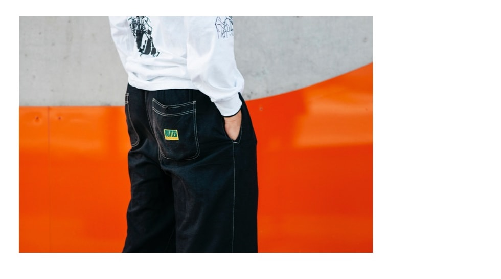 3. Francis Peters and detail of Buttergoods Summit Pants in Black