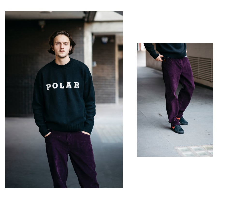 8. Myles wears Polar Skate Co 90s Cords in prune with black Polar knit sweater from the latest Fall 19 Polar collection line.