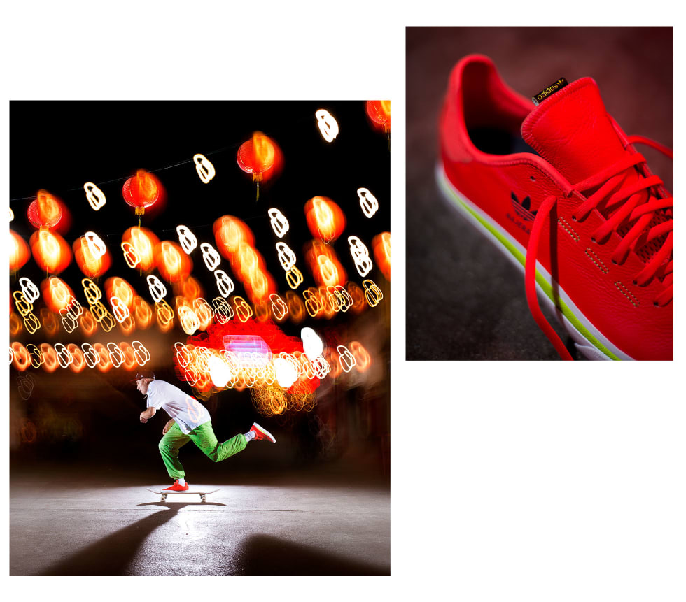 2. adidas Skateboarding Sabalo x Diego Najera in solar red, footwear white, solar slime green. adidas EE6127