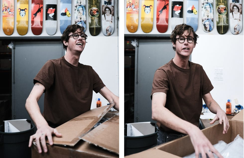 2. WKND Skateboards interview and behind the scenes warehouse visit. WKND pro Johan Stuckey gets stuck in.