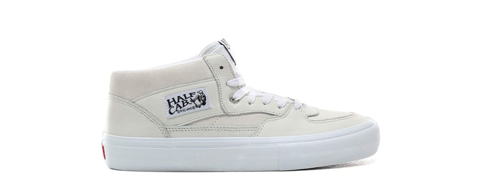White Shoes Vans Half Cab Pro